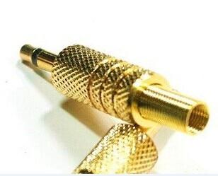 موصل صوت أحادي ذكر ، لحام ، 100 قطعة ، 1/8 ، 3.5 مللي متر ، ذهبي