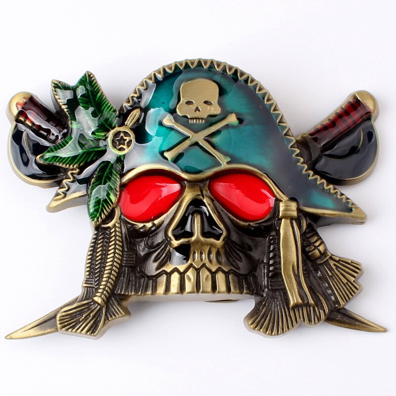 Cuchillo doble calavera pirata con hebilla Cinturón liso con hebilla