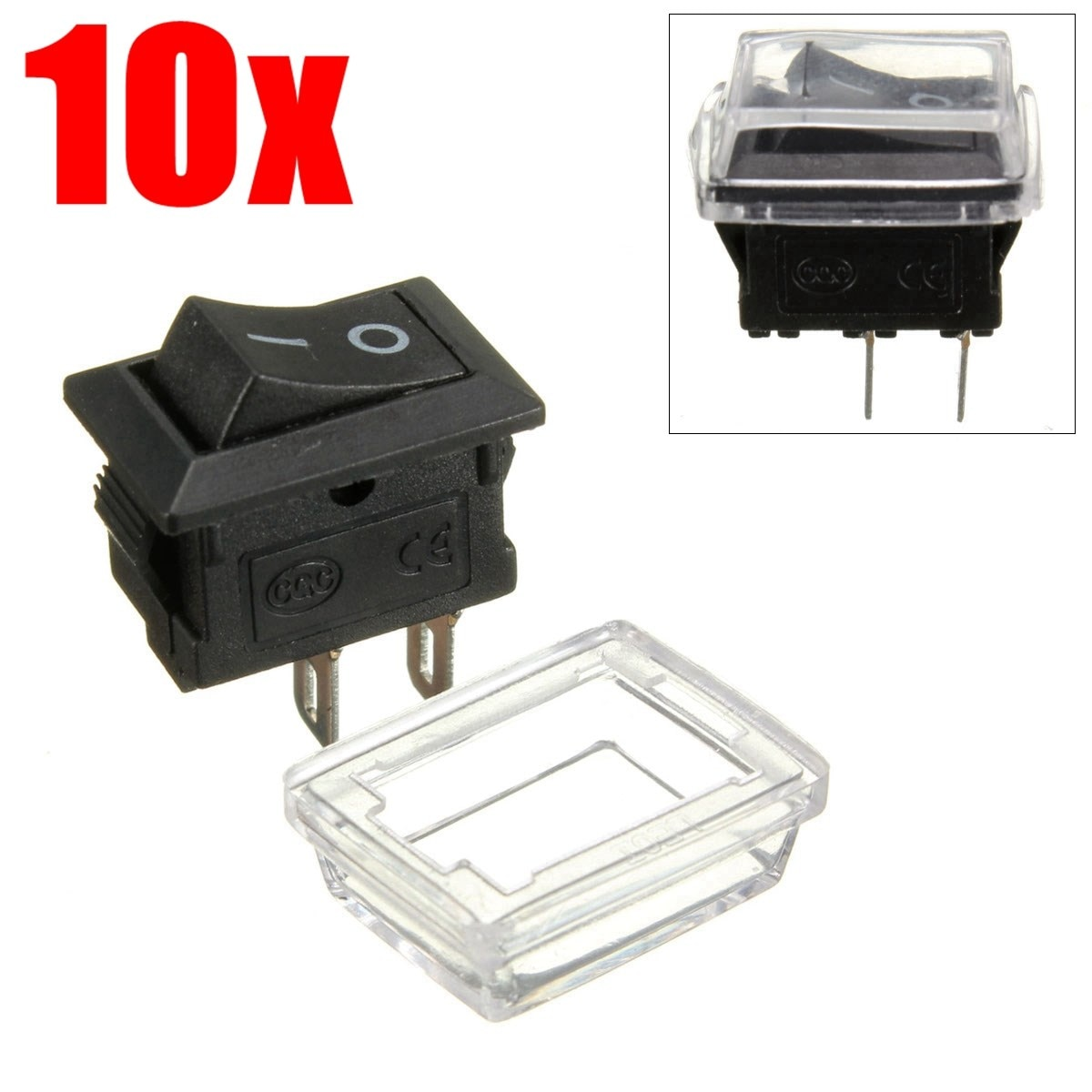 10Pcs 2Pin On/Off Waterproof Rectangle Rocker Switch w/ Cover Car Dashboard Dash Boat 6A 250VAC / 10A 125VAC