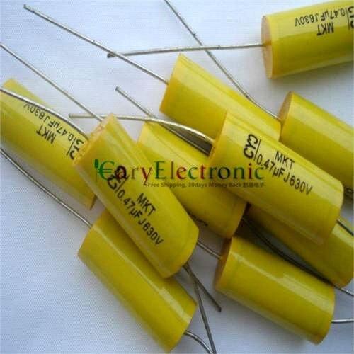 Опт и розница, длинный провод, желтая осевая Полиэстровая пленка, конденсаторы, электронные трубки 0,47 мкФ 630V fr amp аудио, бесплатная доставка