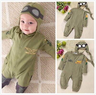 2 uds. Mono de algodón con estampado de letras de piloto de verano y otoño para bebés y niños + conjunto de ropa de 6-24M
