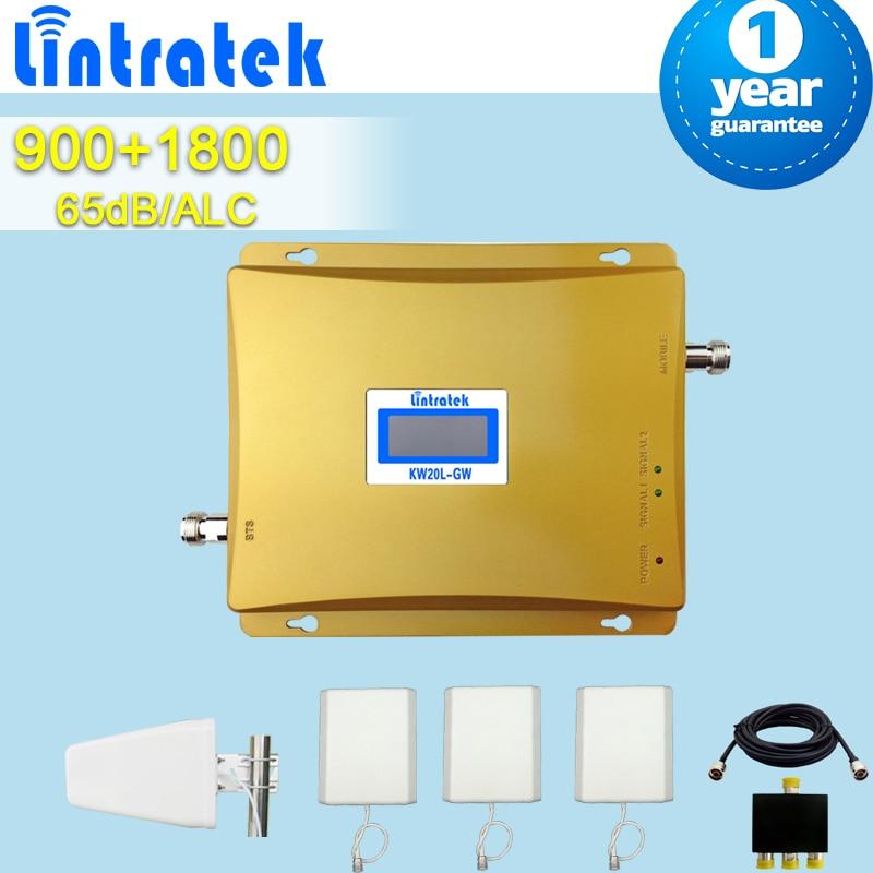 Lintratek GSM 900 DCS 1800 MHz banda Dual celular repetidores amplificador receptor de señal móvil + 3 antenas + lpda divisor de antena amplificador movil repetidor de antena 4g repetidor gsm 1800 amplificador movil