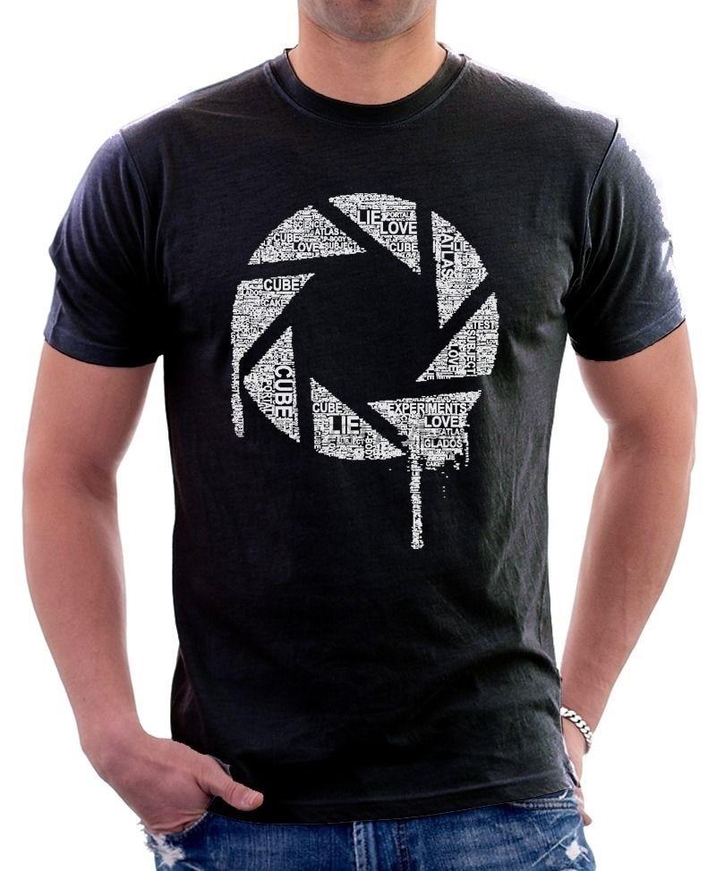 Chell Glados, palabras, remaches de parodia con ruedas, Camiseta de algodón estampada en negro 9698
