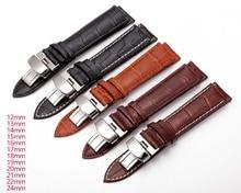 Correas de reloj de cuero genuino 12mm-24mm Universal reloj mariposa hebilla correa de acero mariposa hebilla reloj correa de repuesto