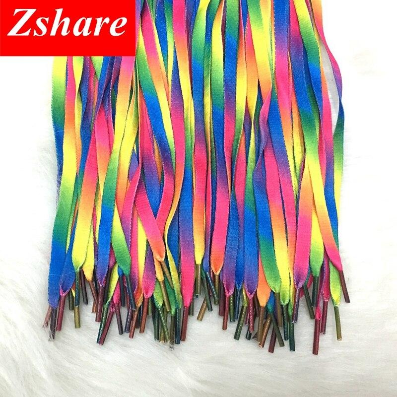 100 Pair Colorful ShoeLaces Rainbow Gradient Print Flat Canvas Shoe Lace Shoes Casual Chromatic Colour Shoelaces Free Shipping