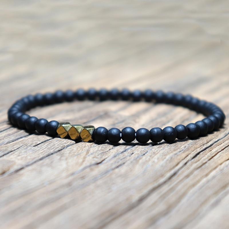 Fashion 4 Mm Black Matte Obsidian Bracelet Minimalist Yoga Prayer Beads Braclet For Men Wristband Mala Jewelry Homme Bileklik Strand Bracelets Aliexpress