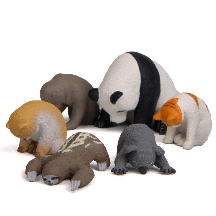 Nuevo Mini serie caliente de resina japonés Sleepy Zoo animales lindo Panda gato cachorro perro mono Koala perezoso otoño a dormir juguetes hechos a mano