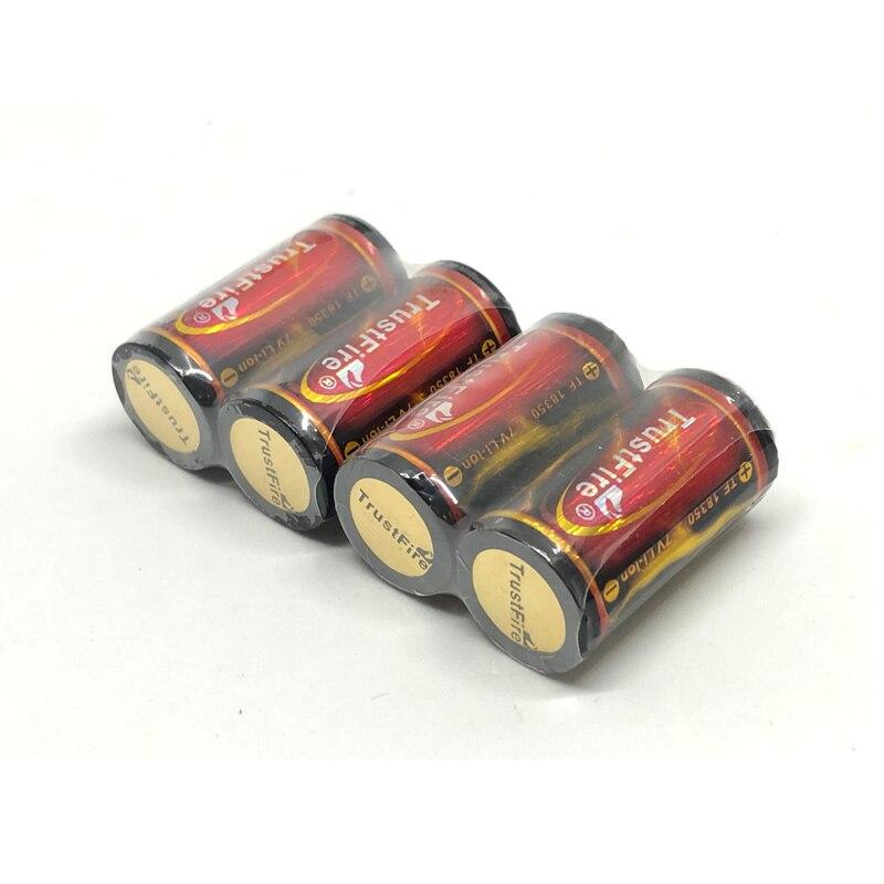 4 unids/lote TrustFire protegidas 18350 batería de litio 1200mAh 3,7 V baterías de iones de litio recargables con PCB para linternas LED