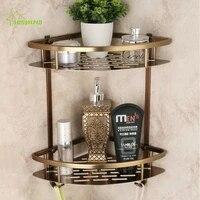 Etageres de salle de bain brossees antiques  Double couche  en Bronze  coin de douche  rangement pour shampoing  savon  cosmetiques  produits de salle de bain