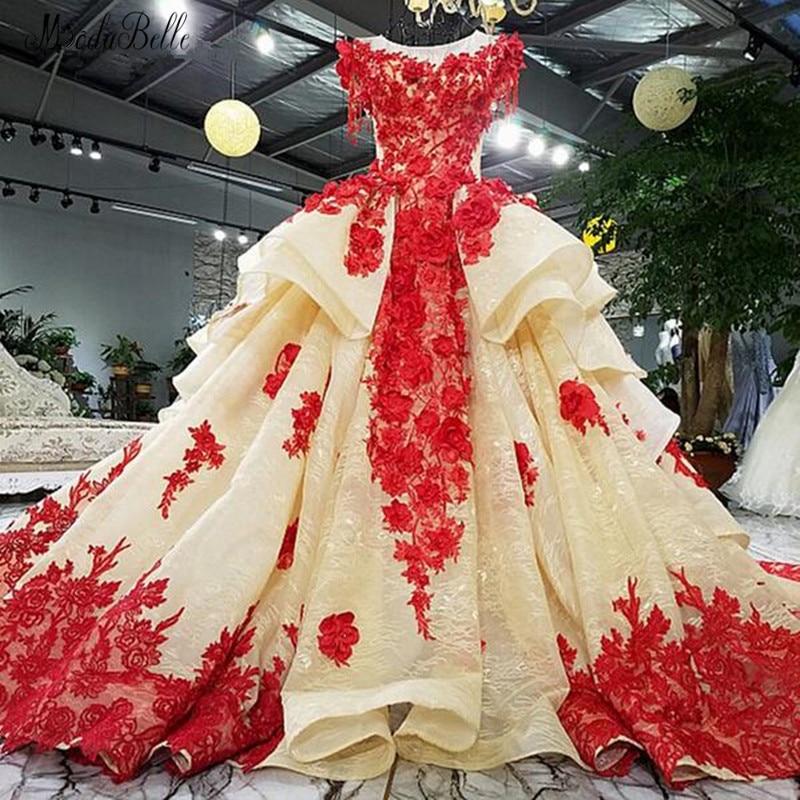 Modabelle 3D encaje rojo flores Organza Vestido De Boda Vestido Boda Mujer...