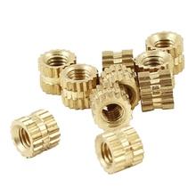 100pcs M2 x 3mm Brass Cylinder Knurled Threaded Round Insert Embedded Nuts Through thread brass insert nut / knurled nuts