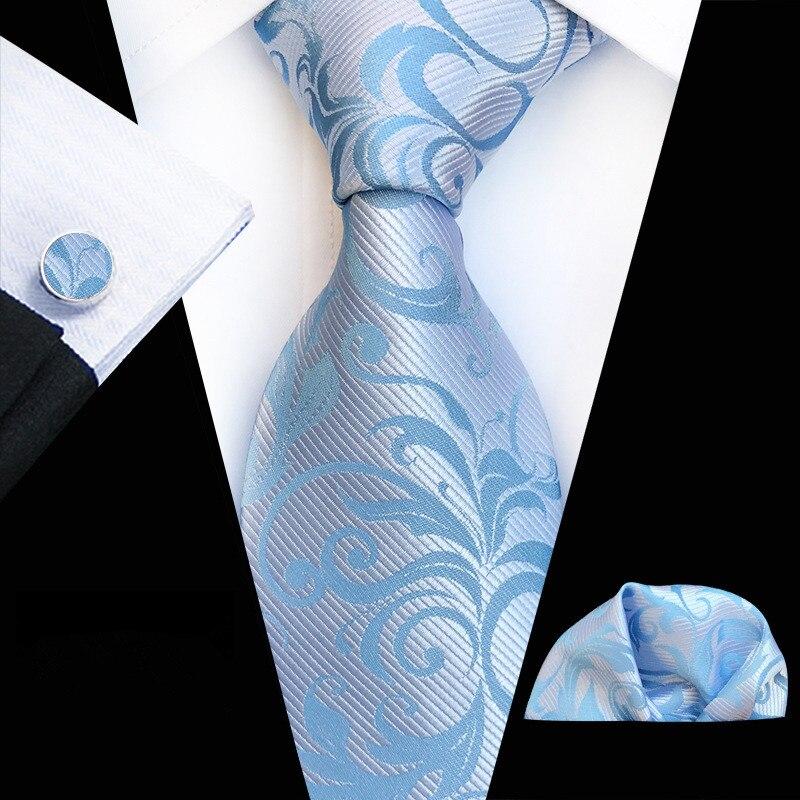 Orange Navy Novelty Tie Hanky Cufflinks Sets Men's 100% Silk Ties for Men Formal Wedding Party Groom