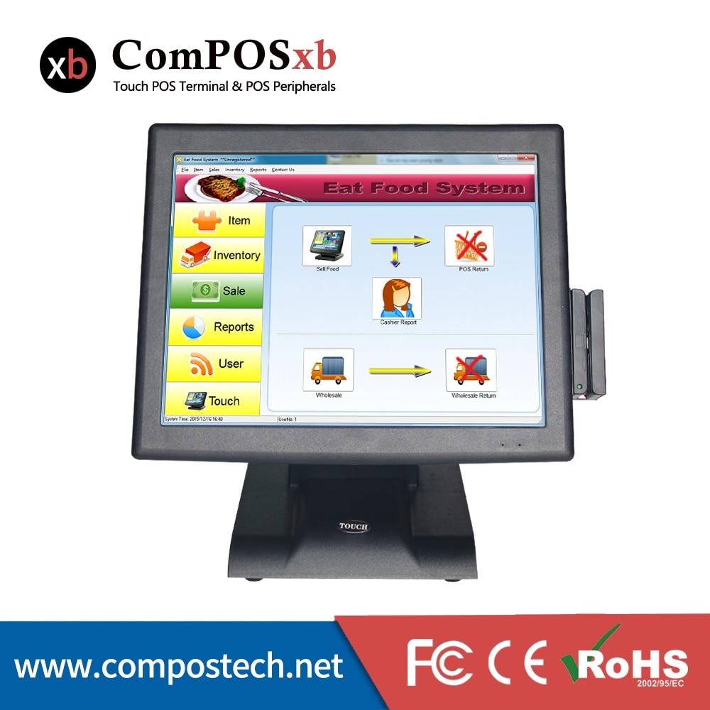 عالية الجودة 15 بوصة I5 اللوحة الرئيسية شاشة تعمل باللمس آلة pos مع عرض العملاء VFD