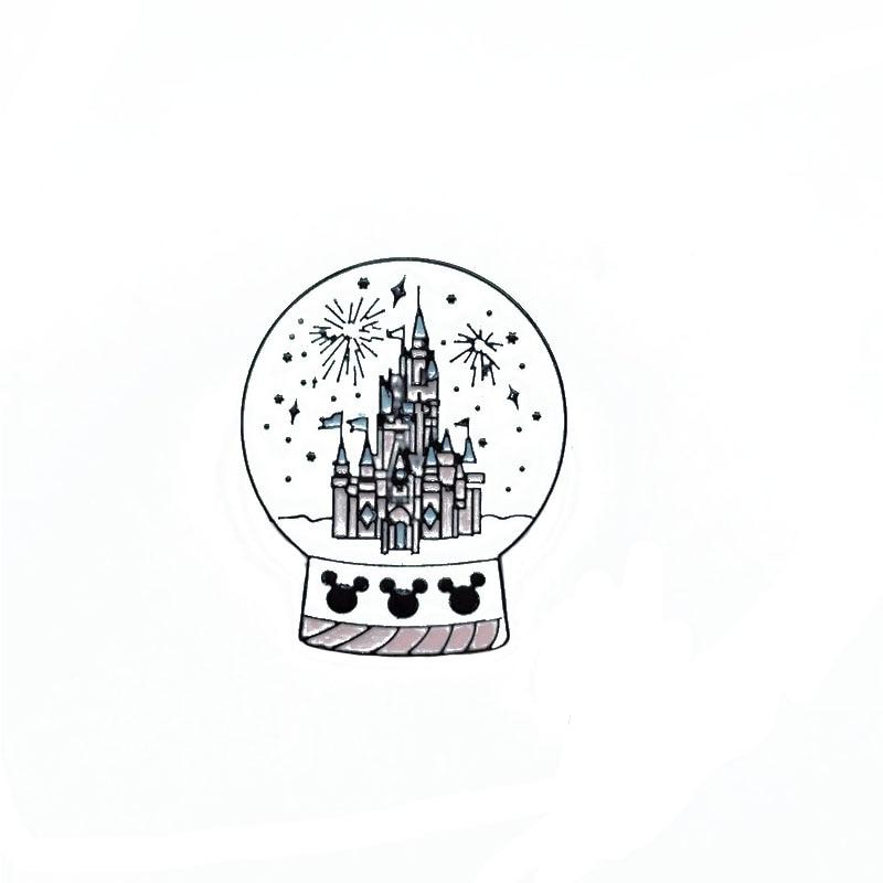 Castelo de Cristal Bola de Metal Esmalte Broche Criativo Jogo Parque de Fogos de artifício Pin Badge Diversão para Crianças Na Moda Costume Presente da Jóia
