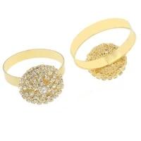 nidalee 10 pcs silver golden rhinestone napkin rings serviette holder bridal wedding ring decorative gem ring