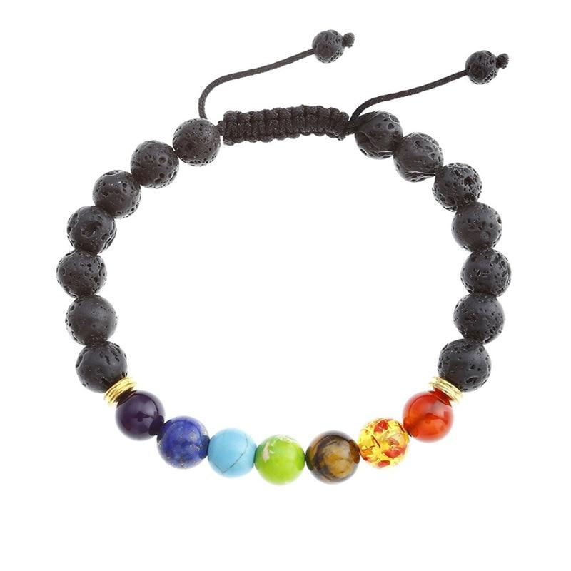 New hot sete chakra pulseira pedra natural 8mm lava-rock pulseira nova pulseira chakra yoga trançado pulseira mulheres 100 pçs/lote