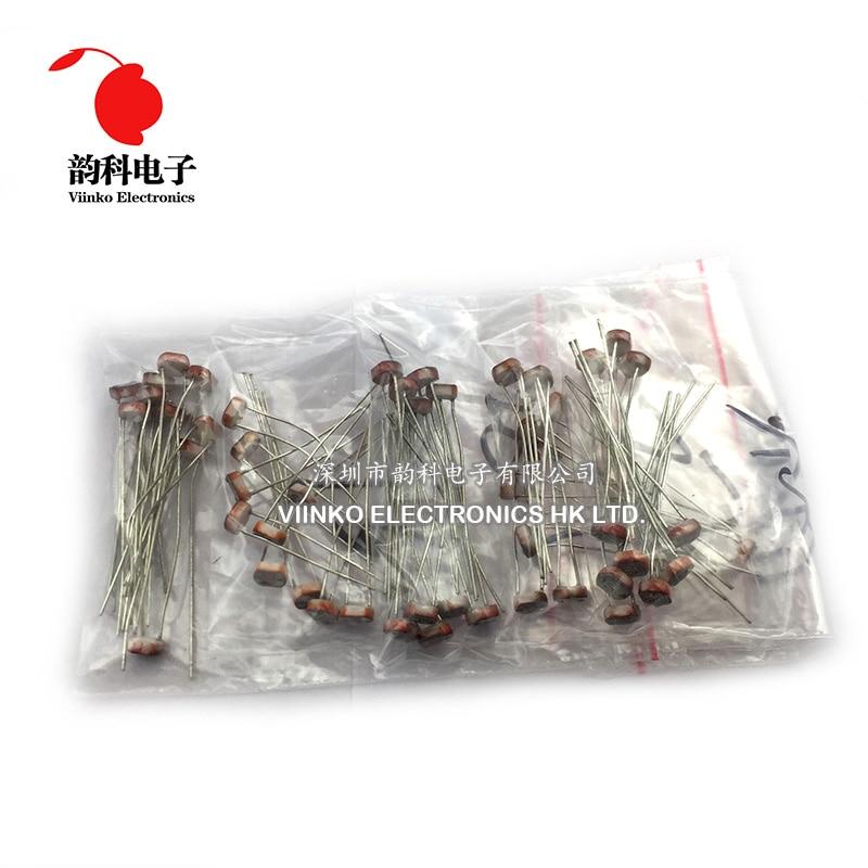 50 Uds 5 valores * 10 Uds LDR resistor fotosensible fotoeléctrico fotorresistencia Kit para 5516, 5528, 5537, 5539, 5549