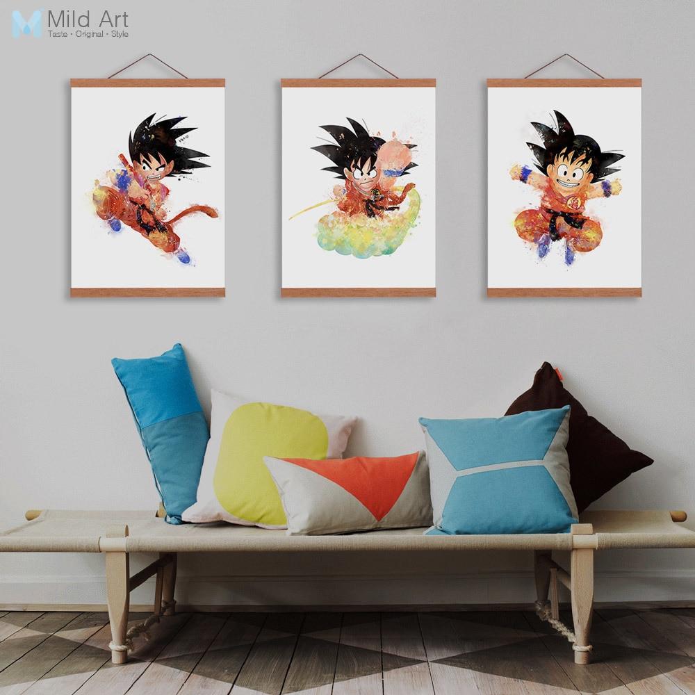 Modernos acuarela del dragón del Anime japonés Goku de cuadros en lienzo enmarcados niños niño habitación decoración de pared imágenes artísticas carteles de desplazamiento