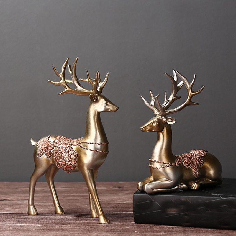 Renas artificiais decoração de casamento estatuetas miniaturas resina ornamento do vintage acessórios para casa presentes dia dos namorados