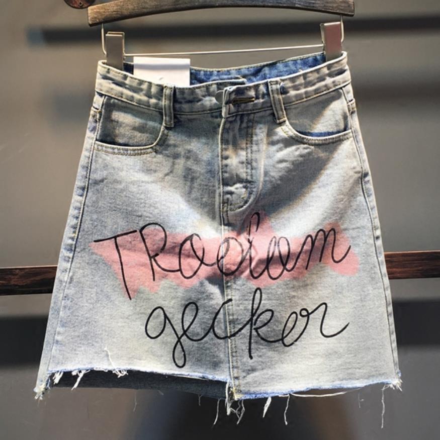 2020 summer women graffiti letter printing asymmetric denim skirt high waist a-line jeans short skirt