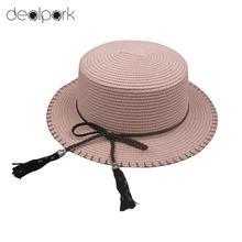2020 New Elegant Women Sun Cap Straw Hat Boater Hat Wide Brim Bow Tassel Flat Summer Panama Beach Holiday Hat