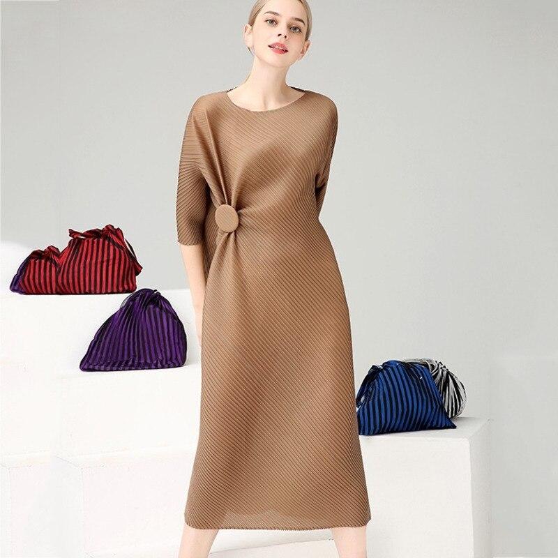 LANMREM 2020 nueva moda ropa de mujer tres casa cuello redondo mangas cortas asimétrico plisado vestido largo WG53304