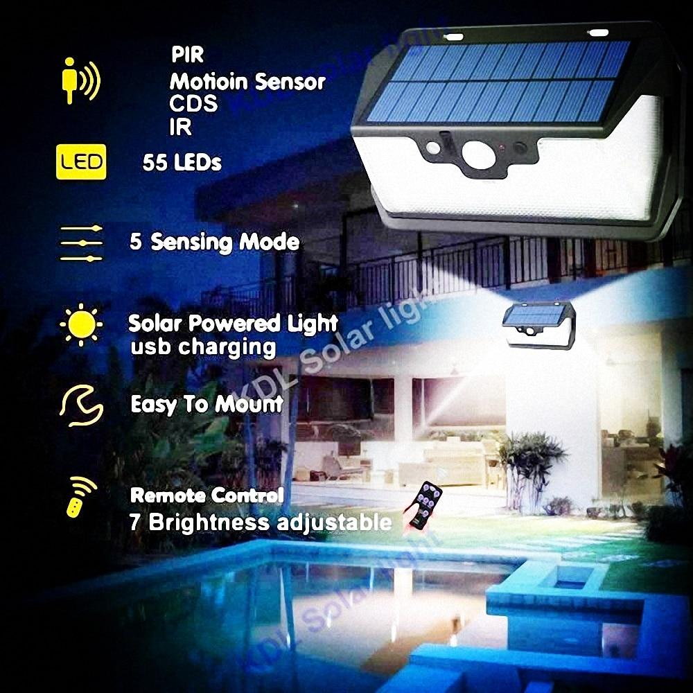 55 LED 900lm luz Solar control remoto radar inteligente 3 iluminación lateral 4 Uds Panel Mot camping calle lámpara de pared yarda g