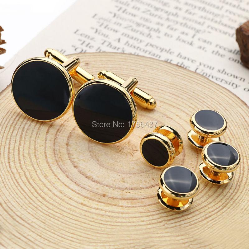Hohe Qualität Schwarzer Emaille Runde Manschettenknöpfe und smoking studs Sets Gold Farbe Überzog Herrenschmuck Geschäfts hochzeit manschettenknöpfe