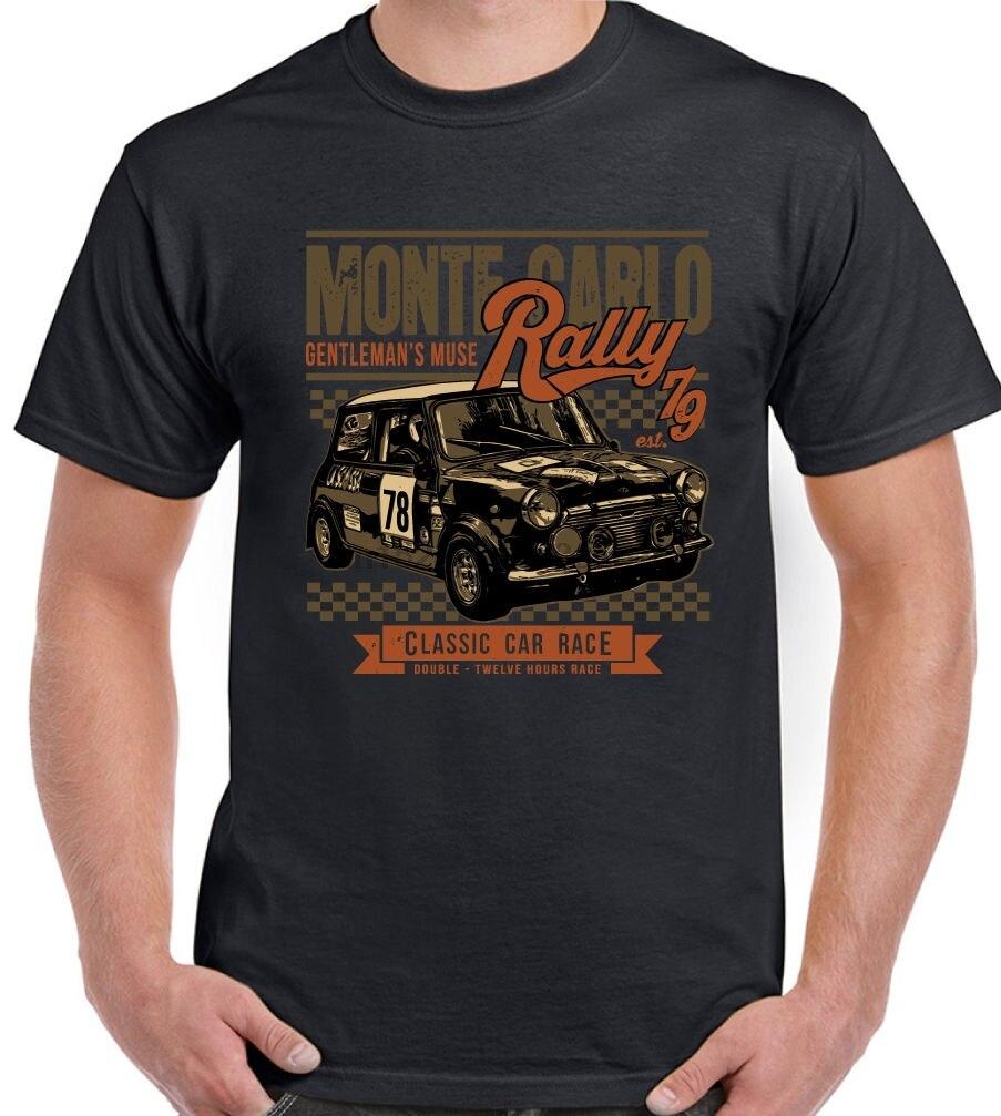 Mini corrida monte carlo rally-homem engraçado carro camiseta cooper