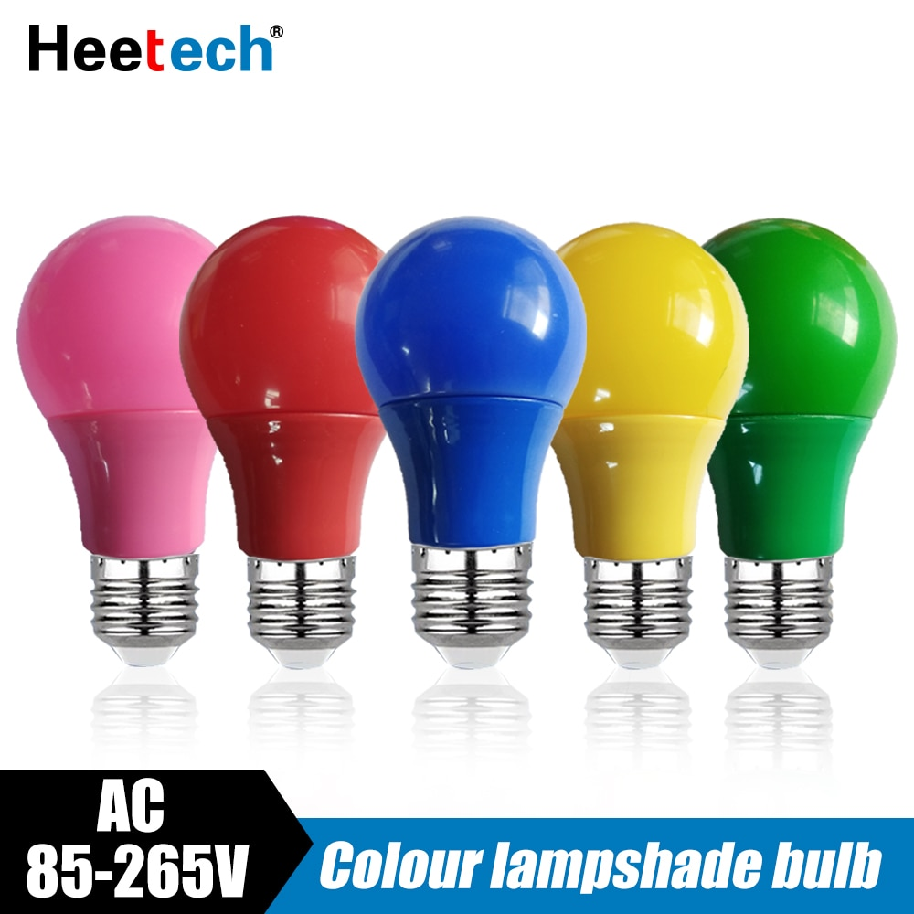 Bombilla LED E27 de colores, lámpara de 5W, 7W, 9W, rojo, azul,...