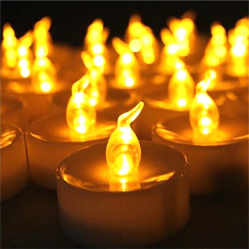 Vela LED sin llama Mini luz Artificial parpadeante velas con batería suministros de fiesta brillante 24 piezas