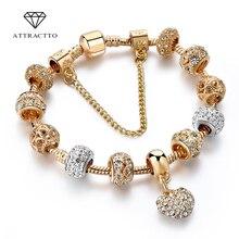 ATTRACTTO Luxus Kristall Herz Charme Armbänder & Armreifen Gold Armbänder Für Frauen Schmuck Pulseira Feminina Armband Sbr170020