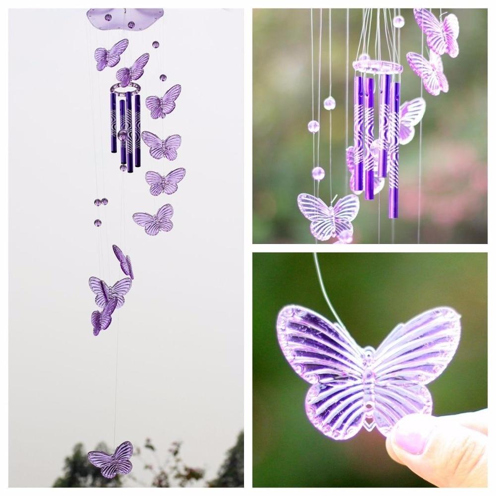 Хрустальная бабочка, колокольчики, висячие украшения для сна, двора, балкона, сада, детской комнаты, украшения для сада, фэн-шуй, деко