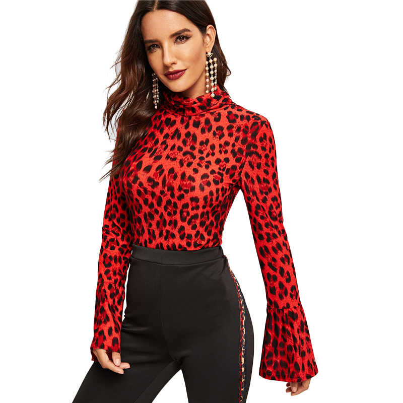 4c444e017235 COLROVIE Turtleneck Bell Sleeve Leopard Print Slim T-Shirt Women Clothing  2019 Spring Streetwear Shirts
