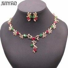 JINYAO Luxury Green&red Stone AAA Zircon Gold Color Necklace Earrings Set For Women Wedding Accessories Jewelry