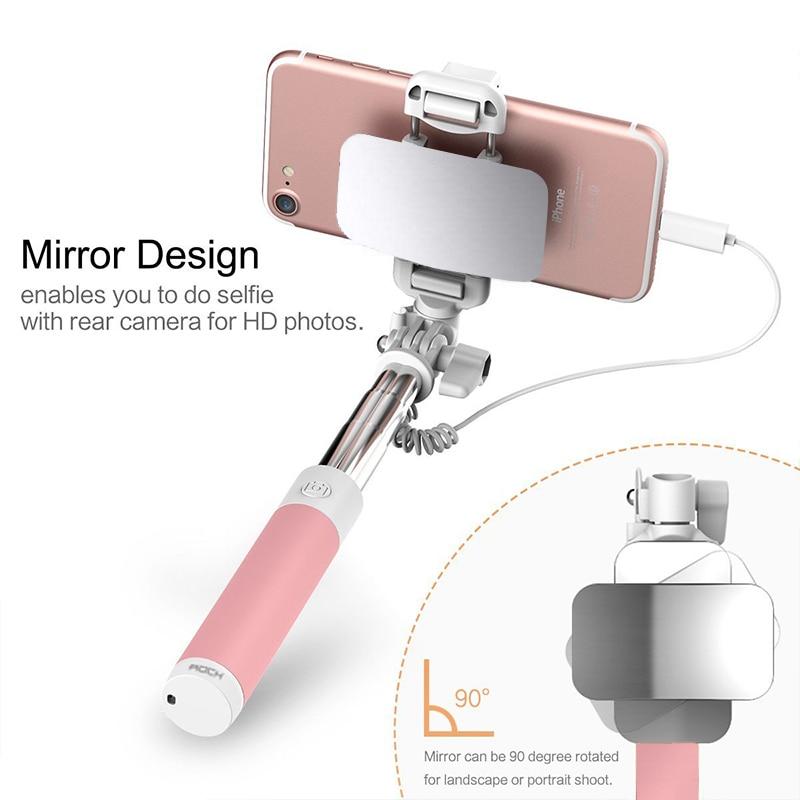 Espejo palo selfie con cable de mano Monopod selfie sopa bastone selfy stik Vara de selfie para iphone 7 6 6s Plus 5 5S
