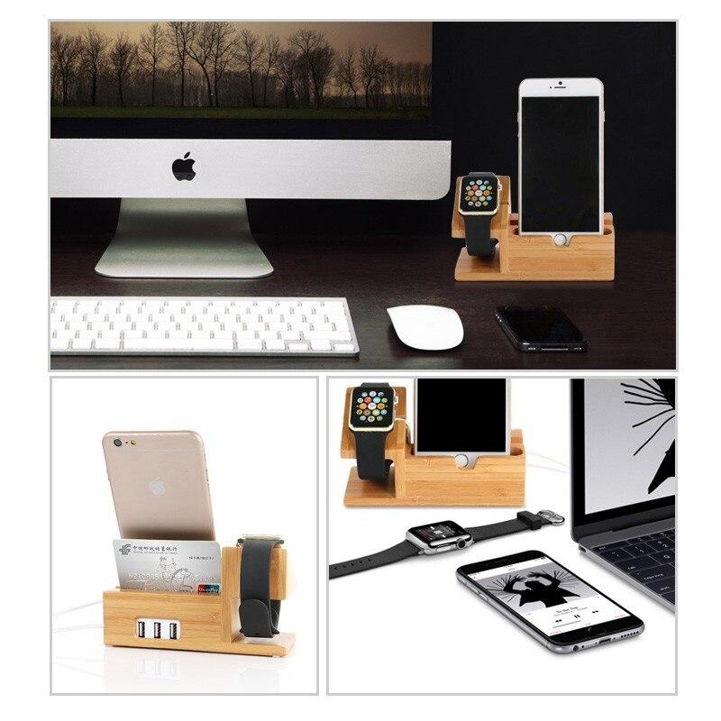 Para todos los Apple Iphone 7 6S PLUS i Watch 38/42mm para Huawei P9 P10 Note realo de madera de bambú base de carga soporte de teléfono