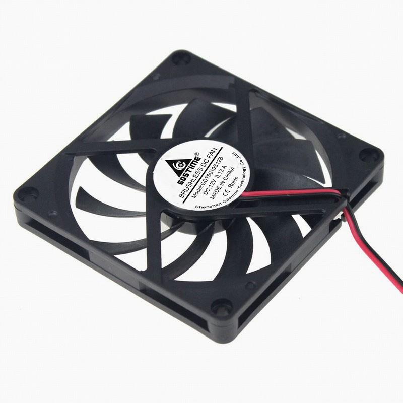 5 Pcs Gdstime 2Pin 8010 80mm x 10mm Radiator 12V DC Burshless Cooler Cooling Fan 8cm 80x80x10mm 3.15 inches