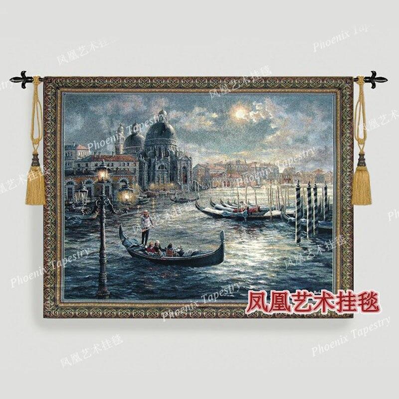 El paisaje de Venecia náutica Tapiz colgante de pared algodón textil para el hogar 104*134cm Tapiz Tapisserie Arazzo medievale H258