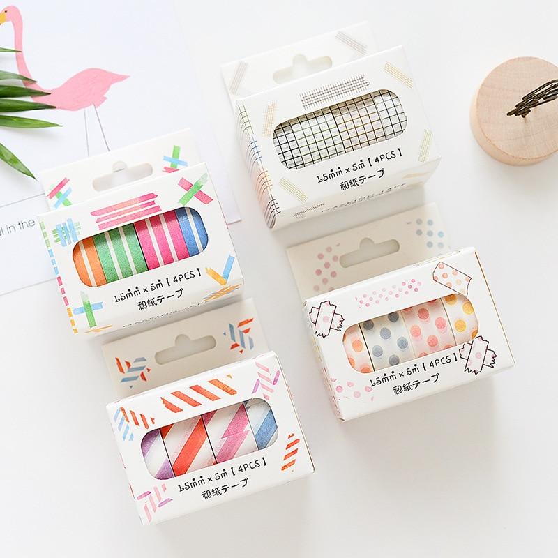4 unids/lote rejilla geométrica Bullet diario conjunto de cintas washi cinta adhesiva DIY Scrapbooking Sticker etiqueta cinta adhesiva japonesa
