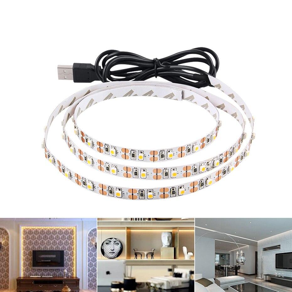 IP20 IP65 LED tira de luz USB impermeable 5 V LED cinta de diodo cinta Flexible Led raya SMD2835 TV Backlight blanco /blanco cálido