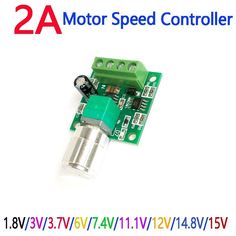 Новый DC1.8V/3 V/6 V/12 V/15 V DC 2A ШИМ регулятор скорости двигателя Регулируемый регулятор переменной скорости с потенциометром