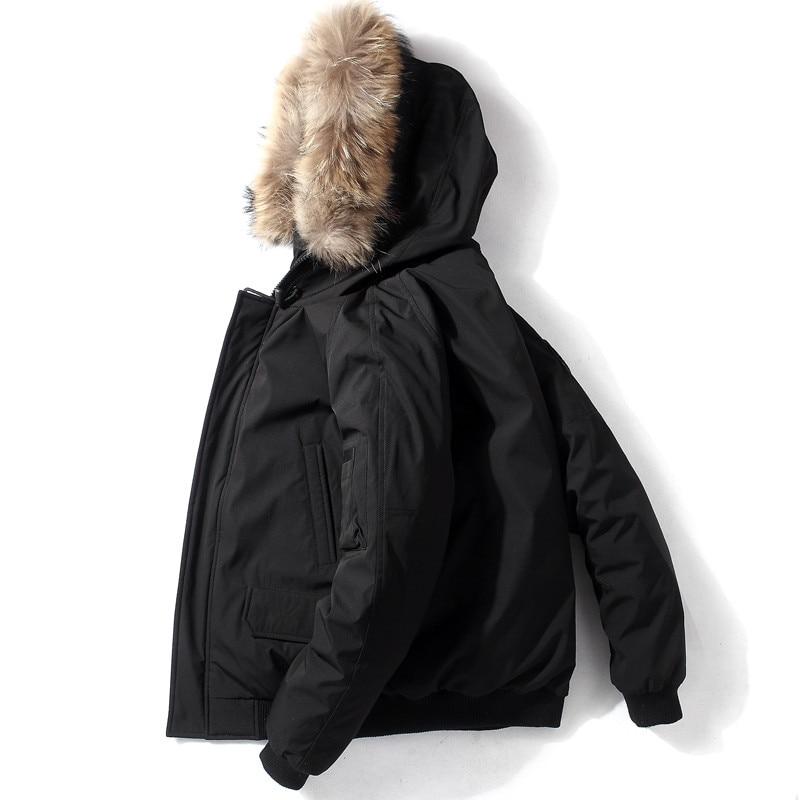 QUANBO, nueva Chaqueta corta de plumas para hombre, abrigo informal holgado de invierno grueso y cálido para jóvenes, Parkas negras con capucha de moda con plumón de pato blanco 90%