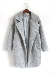 Novas Mulheres Outono Inverno Longo Mulher Casaco de Tamanho Grande Cinza Top Design Casual Roupas Outfit Quente Roupas Plus Size Cinza sobretudo