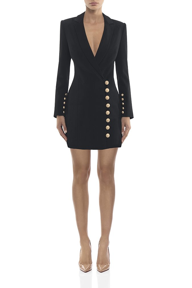 2018 best seller  women dress  wholesale black white v neck with buttons jacket     dress par  Dress + suit