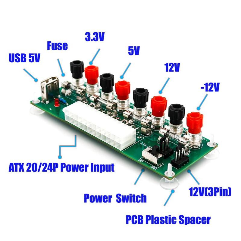 Circuito elétrico 24 24 Bancada Pinos ATX fonte de Alimentação Do Computador atx pin Breakout board módulo conector de ficha CC com USB 5 V Porto