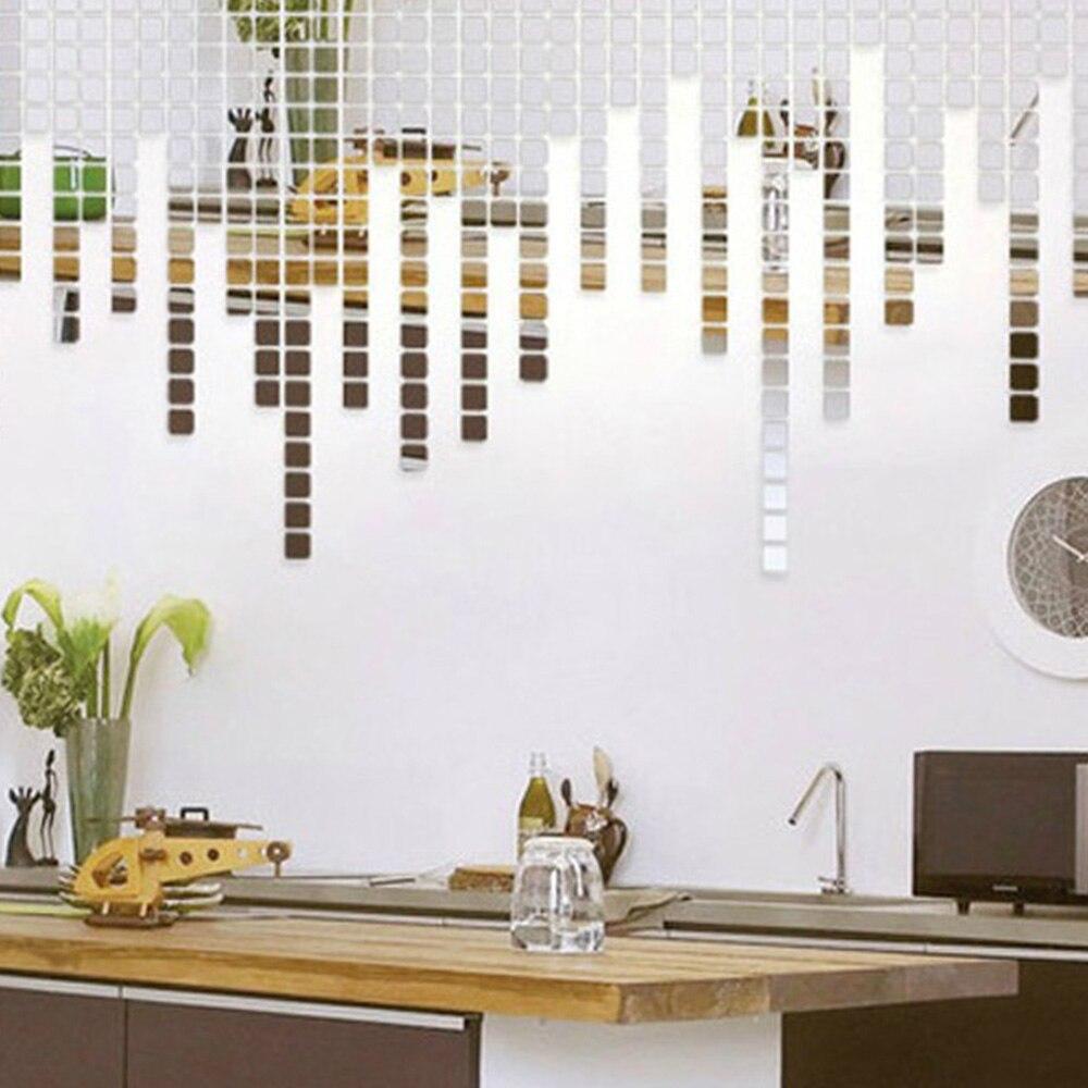 100 unids/lote 2x2cm acrílico 3D pared adhesivos decoración de dormitorio mosaico efecto espejo DIY cuadrado sala de estar decoración del hogar