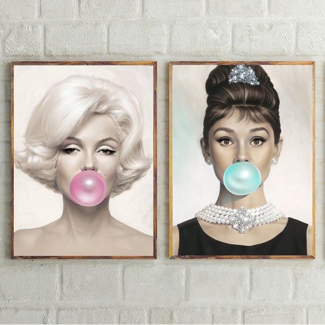 マリリン · モンローオードリー · ヘップバーンバブルガムポスターポップアートキャンバスポスター家の装飾ドロップシッピング