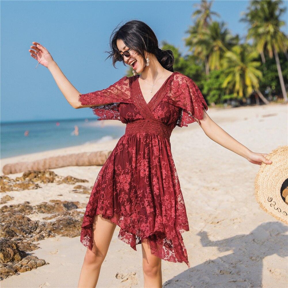 2019 verano playa vestido para Resort vino rojo bordado V cuello largo vestido de encaje vestido