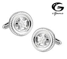 IGame erkek moda kol düğmeleri gümüş renk pirinç malzeme yenilik araba lastiği tasarım kol düğmeleri